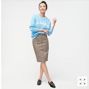 J. Crew No 2. Pencil skirt leopard bi-stretch